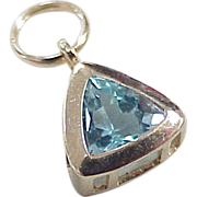 Vintage 14k Gold December Birthstone Charm ~ Blue Topaz