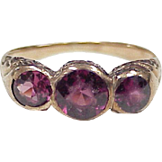 Victorian Pink Tourmaline Three Gemstone Ring 10k Rose Gold