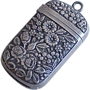 Petite Sterling Silver Vesta / Match Safe, Floral Repousse Fob or Pendant