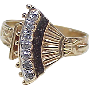Victorian Revival Diamond Ring 10k Yellow Gold ~ Flirty Hand Fan circa 1940-50's