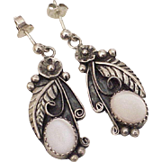 Navajo Dangle Earrings Sterling Silver Pink Mother of Pearl E.M. White 1970's
