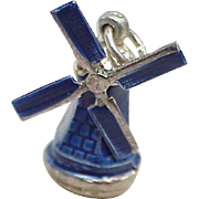 Moving Vintage Windmill Charm Sterling Silver, Blue Enamel Accent circa 1950-60's