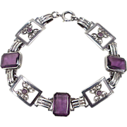 REDUCED Vintage Faux Amethyst Sterling Silver Bracelet, Filigree Butterfly Links