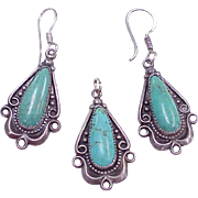 Bell Trading Company Pendant & Earring Set Sterling Silver & Turquoise circa 1960's