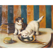 SOLD Original Oil on Board 'KITTENS' Ebonised & Gilt Frame, Late 19th c. Early 20th c.