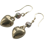 SALE Sterling Silver Hook Style Heart with cultured Pearl Earrings