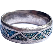 SALE Old Sterling Silver Turquoise Inlay ring Size 11 1/2