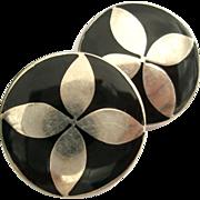 SALE Taxco Black Enamel Plastic Sterling Silver Earrings