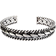 SALE Sterling Silver .925 Twisted Rope Cuff Bracelet 3 Row Polished Navajo Native American
