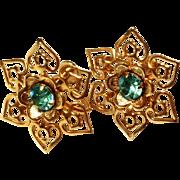 Vintage Star Blue Rhinestone Earrings - Screw Back Style