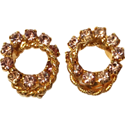 Vintage Lavender Rhinestone Earrings Gold tone - Clip Style