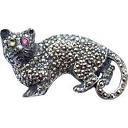 SALE Sterling Silver Marcasite Kitty Pin Brooch