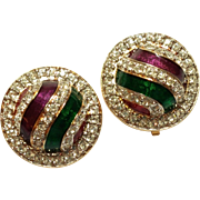 SALE Colorful Swarovski crystal  enamel earrings Round Shaped