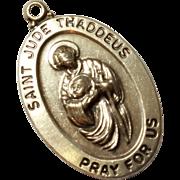 Vintage Sterling Silver Saint Jude Religious Medal Charm Pendant
