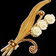 Vintage Gold Filled carved Celluloid Flower Pin C.R. Co 12k GF