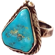 SALE Vintage Navajo Sterling Silver Turquoise Ring Size 5 3/4