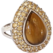 Stunning EA .925 Sterling Silver Tiger Eye Ring Size 7 3/4