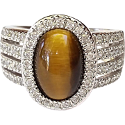 SALE Spectacular ESPO .925 Sterling Silver Tiger Eye CZ ring Size 8 1/2