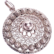 Stunning Sterling Silver Filigree Necklace Pendant