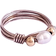 SALE Nice Sterling Silver, 14K gold bead, cultured pearl wire wrapped ring Size 4 1/4