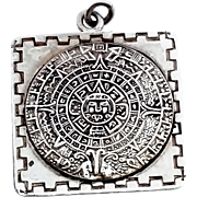 SALE Reduced! Stunning old Eagle 19 Mexcio Mayan Calendar Hand Made Necklace Pendant