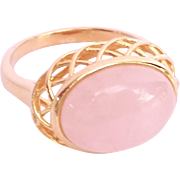 SALE Absolutely beautiful Gold Washed Sterling Silver Pink Quartz Ring Size 9