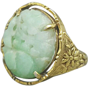 Chinese Art Deco Jade Ring Vermeil Sterling Floral Carving & Mounting Size 8