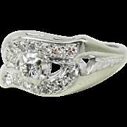 Retro Vintage Diamond Wave Ring, 14k White Gold, .50 ct tw