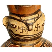 Pre-columbian Highlands Bolivia 200-600 A.D. Effigy Jug with Intricately Hand Painted Geometri