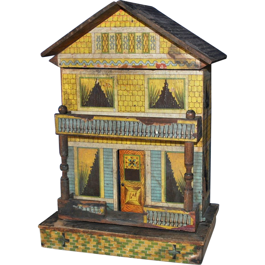 Bliss Dollhouse Wallpaper: Bliss American Lithographed Paper On Wood Doll House Late