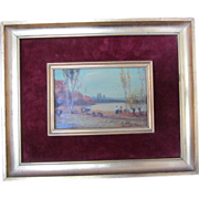 "SALE Antique ""Farmers by the Lake"" Painting-Signed A. Romeno"