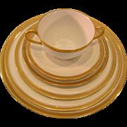 """SALE Limoges 81pc Vintage China-""""Union Ceramique""""-Gold Encrusted Laurel Trim-white/g"""