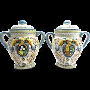 REDUCED Vintage Italian Faience Handled Jars-Hand Painted