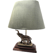 "REDUCED Bronze Elephant French Mounted Lamp 22.5""tall"