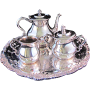 REDUCED 4pc Silver Plates Forbes Tea Service with Poole Footed Tray