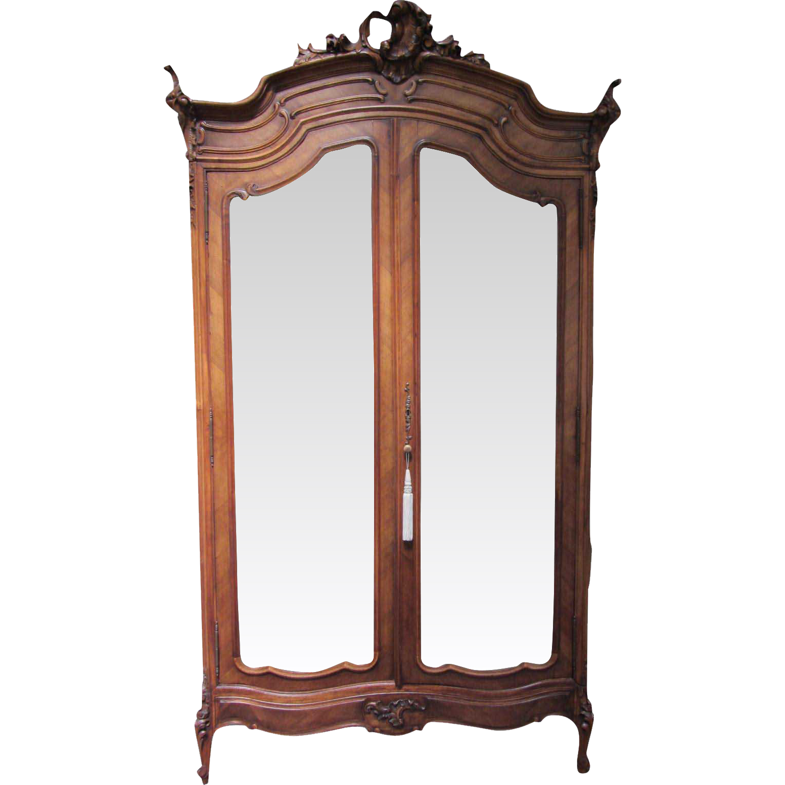 Antique Mirrored Door Carved Wood China Cabinet Armoire. Full resolution  img, nominally Width 1536 Height 1536 pixels, img with #9A4931.