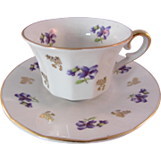 REDUCED Vintage Winterling China Violets Demitasse Cup and Saucer- Bavaria