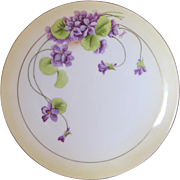 "SALE 8.5"" Vintage Violet Plate- Signed by Hauk by P.T- Bavaria"
