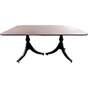 """SALE Antique Queen Anne Dining Table - 86.5""""L with Leaf"""
