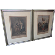 "SALE 26 x 21"" Vintage Pair of Framed Hand Colored Lithographs-Cries of London"