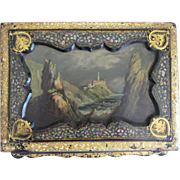 REDUCED Antique Black Lacquer Writing Travel Box- Oil Painting Cover