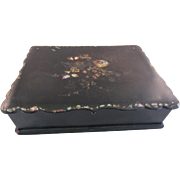 REDUCED Victorian Black Lacquer Ware Letter Writing Box with Mother of Pearl Inlay