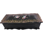 REDUCED Antique Victorian Lacquer Ware Jewelry Box with Mother of Pearl In-Lay
