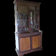 SALE Antique Glass Paneled Wooden Cabinet- John Barker & Co.
