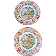 "SALE ""Italian Scenery""-Set of 2 Vintage Transfer Ware 9"" Plates. Made in Adams,"
