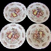 """SALE Set of 4 """"Windsor Fruit"""" Vintage Johnson Bros. Plates 10"""""""