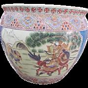 "Large Vintage Porcelain Chinese Fish Bowl Pot 16x 15""tall"