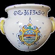 Italian Faience Ring Handled Jar
