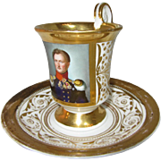 KPM Portrait Cup and Saucer- Circa 1840