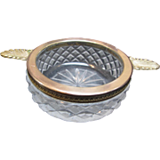 Vintage Art Deco Cut Crystal Ash Tray with Brass